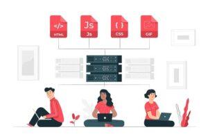 Ilustração desenvolvedores, programadores web sentados com laptop no colo